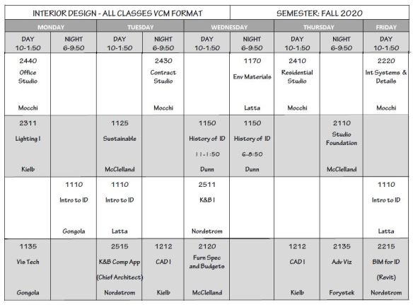 Fall Schedule 20 VCM